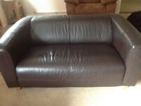 Sofa, real leather, 2 seater, dark brown very nice