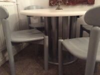 Grey wooden dining table