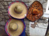 25 Mexican straw hats (Sombreros) & 1 original Mariachi Mexican Sombrero