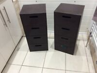 Two Small Brown Faux Leather Matching Four Draw Chests.b