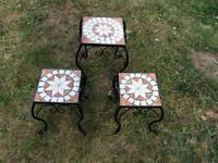 A Set Of 3 Metal Tables