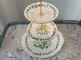 Colclough Sedgley Bone China 3 Tier Cake Stand. Green Floral.