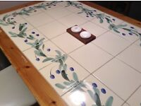 country table, cream tiles with blue and green hand painted pattern