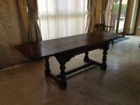 10/12 seater solid oak table