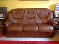 3-piece Italian brown leather suite in great condition