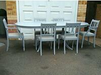 LARGE COUNTRY EXTENDABLE DINING TABLE AND 6 CHAIRS