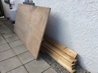 Timber and plywood various lengths all unused except plywobod but it is in good condition