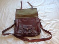 Brown stressed leather satchel