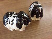 Quail lop eared rabbit ceramic cruet set brown/cream lovely condition