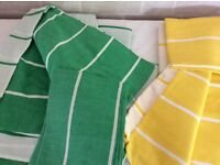 Double duvets covers with pillow cases. Green duvet used once. Yellow as new.