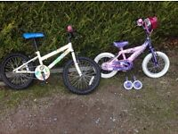 "Two Girls Bikes. 14"" & 18"". Aged 3 & 5 upwards. Would like to sell in one lot."