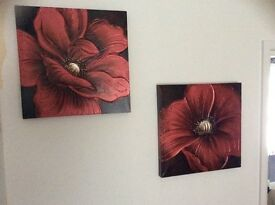 TWO FLORAL CANVAS FROM THE RANGE