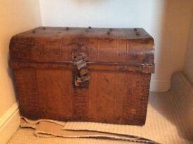 Vintage/antique metal chest c. 67cm x 48cm x 48cm