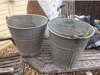 Old metal buckets