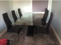Barker and Stonehouse Glass Dining Table and Six Chairs.