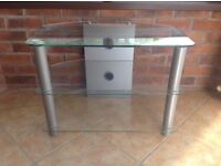 Three shelve Glass TV Stand With Silver Legs