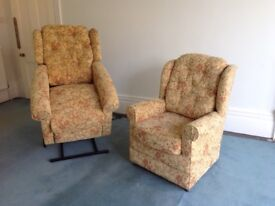 Two matching HSL chairs for sale. One is a riser recliner.