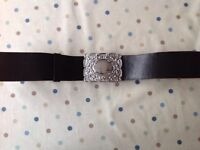 Black leather kilt belt with thistle buckle