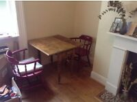 2 red dining/desk chairs