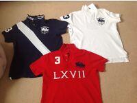 3 x Gents authentic designer Polo Ralph Lauren polo shirts size large