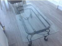 Glass top coffee table and side tables