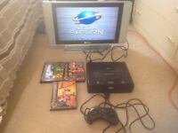 Sega Saturn Console With Joypad Both Leads and Games
