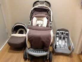 Mothercare Quattro Delux travel system pushchair with lots of handy features + car seat base