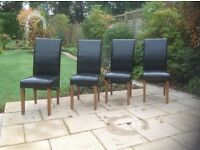 4 Black faux leather high back dining chairs