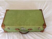 Beautiful Large Green Vintage Case with Brown Leather accessories