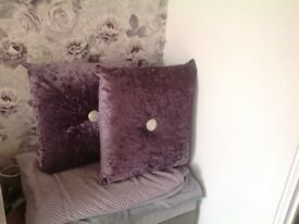 2 x large purple cushions with diamanté in the middle - just £20