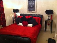 Black Faux Leather Diamante Double Bed Frame