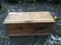 Old wooden pine chest