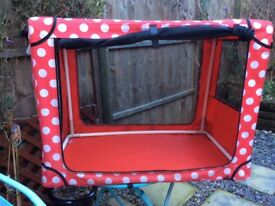 Red dotty fabric DOG CRATE