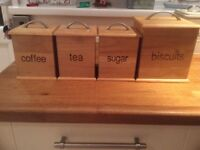 Tea, coffee, sugar and biscuit canisters in pine