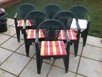 Green plastic garden chairs (x6)