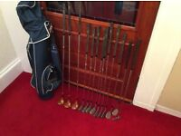 Golf clubs and golf bag.