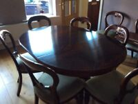 Mahogany extending dining table and chairs , excellent condition