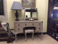 Beautiful antique dressing table with matching mirror and stool. Excellent condition.