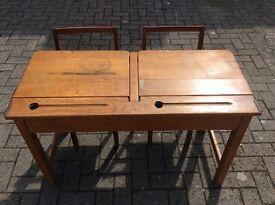 Vintage school double desk