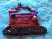 Quirky, hand knitted bag