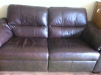 2x Brown Leather Recliner Sofas
