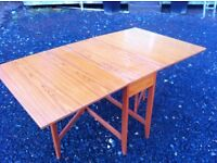 Teak veneer drop leaf dining table