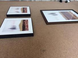 Set of 3 pictures / paintings with gold effects