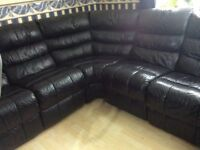LAND OF LEATHER BLACK LEATHER RECLINER CORNER SOFAS-PREVIOUSLY £5k-MUST GO ASAP-CHEAP DELIVERY- £495