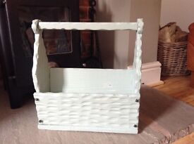 Shabby Chic Magazine Rack - restored by hand and painted with Farrow & Ball