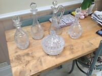 Cut glass decanters and bowl