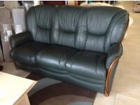 Green leather 3 seater
