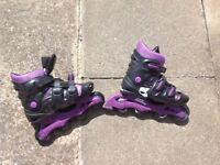 No fear roller blades/boots (marked) as used size 5-8 colour purple and black.
