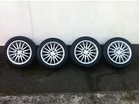 Alloy wheels 4 stud multifit with 2brand New Tyres and other 2tyres ok.15Inch