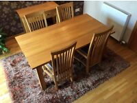 Solid oak dining table, oiled finish, excellent condition